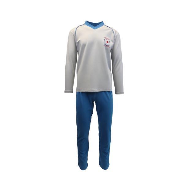 Pijama pentru barbat, Univers Fashion, bluza gri cu imprimeu pe piept, pantaloni lungi turcoaz, XL
