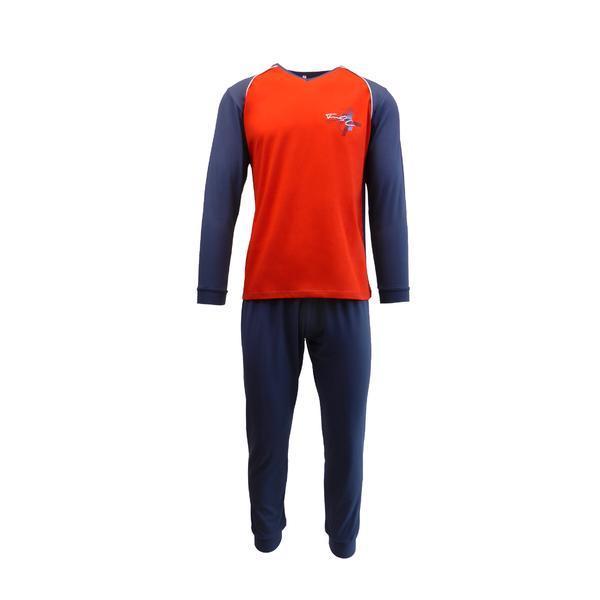 Pijama pentru barbat, Univers Fashion, bluza rosu si albastru cu imprimeu pe piept, pantaloni lungi albastru, S