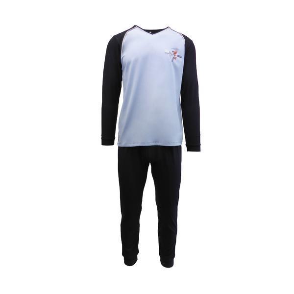 Pijama pentru barbat, Univers Fashion, bluza albastru deschis si albastru inchis cu imprimeu pe piept, pantaloni lungi albastru inchis, S