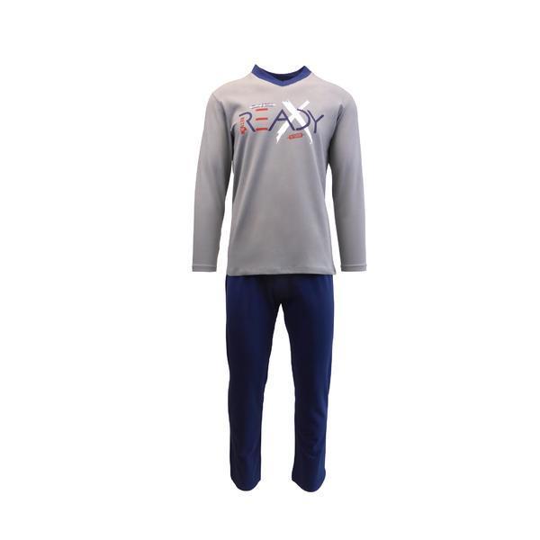 Pijama pentru barbat, Univers Fashion bluza gri cu imprimeu 'READY', pantaloni lungi indigo, XL