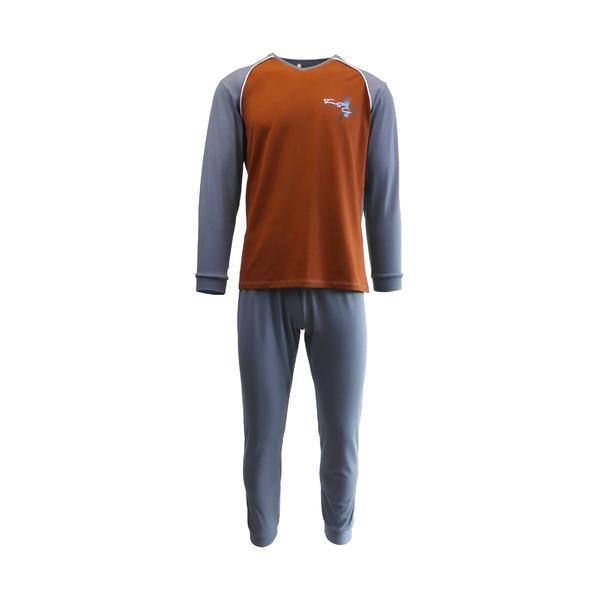 Pijama pentru barbat, Univers Fashion, bluza maro si gri cu imprimeu pe piept, pantaloni lungi gri, S
