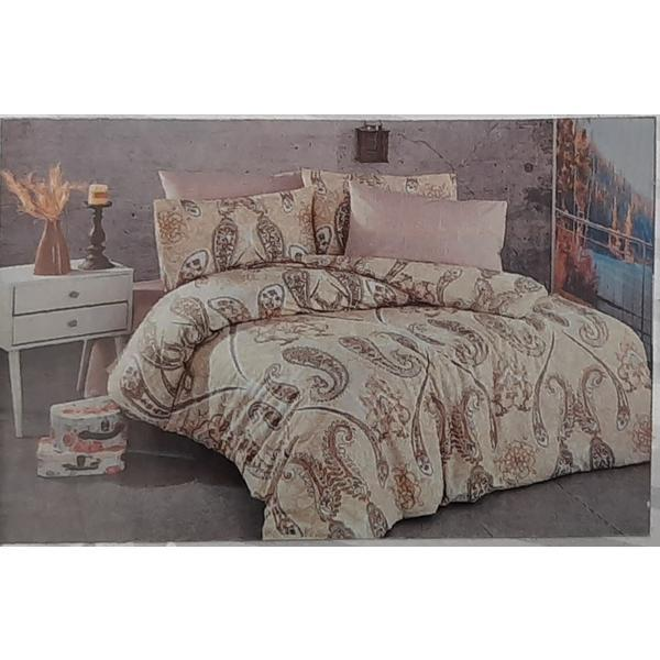 Set cearceaf de pat cu elastic 220 x 240 x 25 cm, si 2 fete de perna 50 x 70 cm, bumbac 100% – Patru Anotimpuri