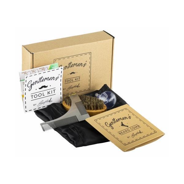 Set cadou de ingrijire barba Gentlemen's Comb Kit: Perie barba par natural + Pieptan contur barba din otel + Pelerina de tuns barba + Ghid aranjarea barbii Cadou - Conceptool