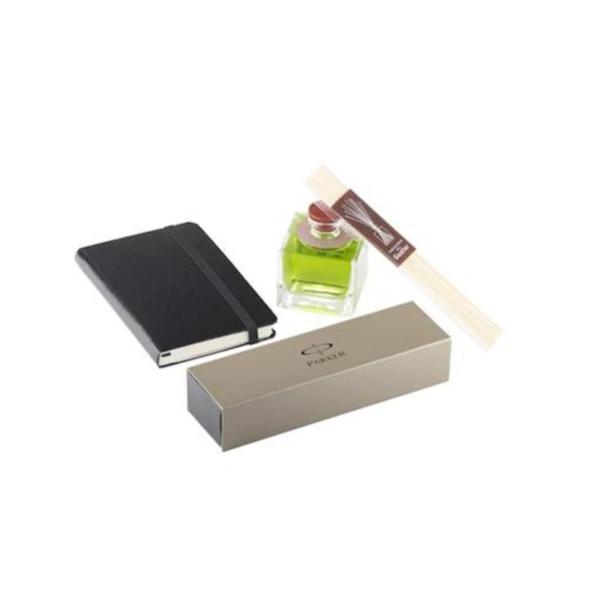Set de birou Office Goods - Agenda piele Herlitz A6 + Pix Parker Jotter + Parfum camera 80 ml Goacub Tiare + punga cadou