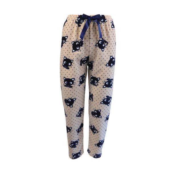 Pantaloni pijama dama, Univers Fashion, polar, bej cu imprimeu pisici albastre, 2XL