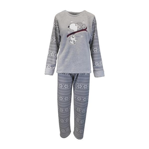 Pijama dama, Univers Fashion, bluza cocolino gri cu imprimeu Snoopy, pantaloni polar gri cu imprimeu fulgi albi, 2XL