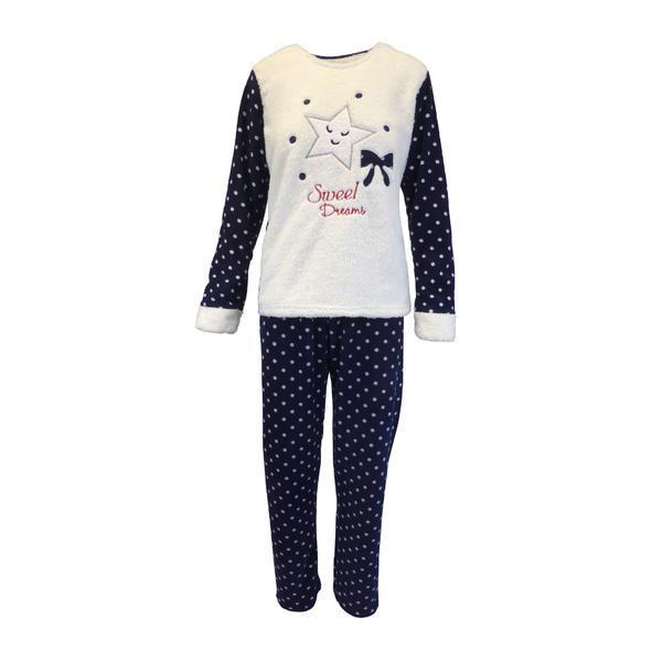 Pijama dama, Univers Fashion, bluza cocolino alb si albastru, pantaloni polar albastru cu buline albe, 2XL