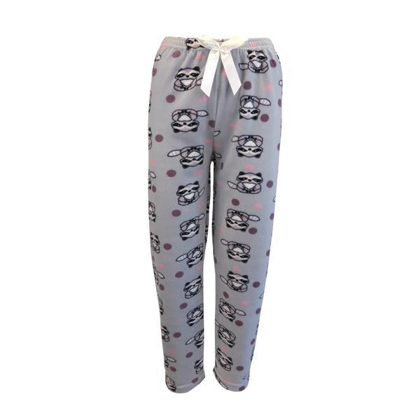 Pantaloni pijama dama, Univers Fashion, polar, gri cu imprimeu mov si roz, XL