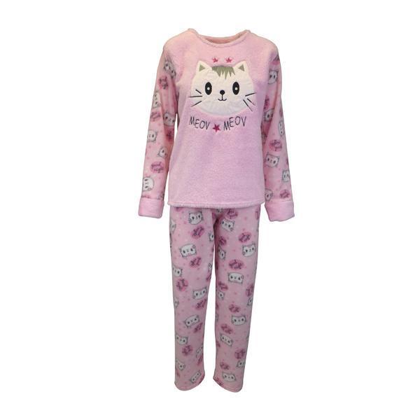 Pijama dama, Univers Fashion, bluza cocolino roz cu pisica, pantaloni polar roz cu imprimeu pisici, 2XL