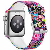 Curea compatibila cu Apple Watch 1/2/3/4, Bratara Trendy, Silicon, 44mm, Motiv Floral, Motrix