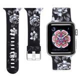 Curea compatibila cu Apple Watch 1/2/3/4, Bratara Trendy, Silicon, 38mm, Gray Flower, Motrix