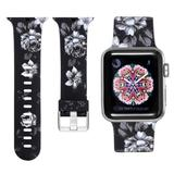 Curea compatibila cu Apple Watch 1/2/3/4, Bratara Trendy, Silicon, 44mm, Gray Flower, Motrix