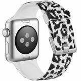 Curea compatibila cu Apple Watch 1/2/3/4, Bratara Trendy, Silicon, 40mm, Leopard, Motrix
