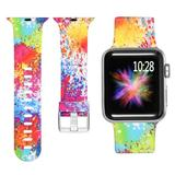 Curea compatibila cu Apple Watch 1/2/3/4, Bratara Trendy, Silicon, 38mm, Splash-Ink, Motrix