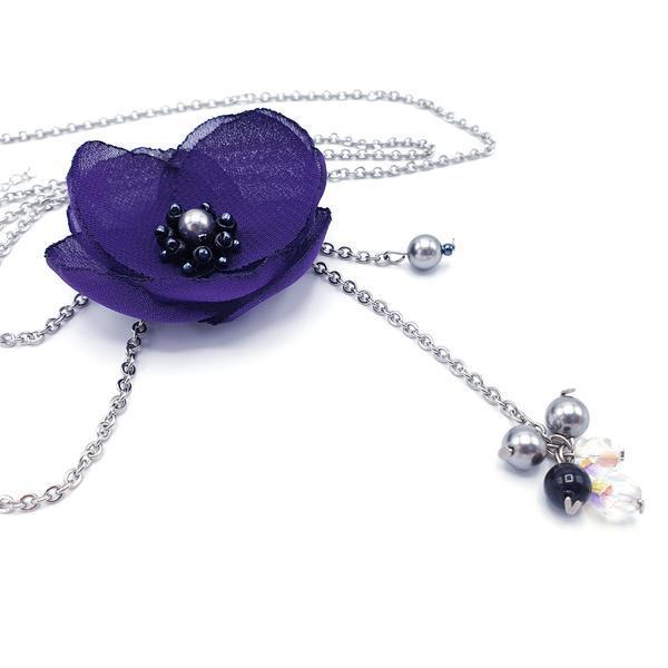 Colier lung pandantiv floare mov, Alissa, Zia Fashion