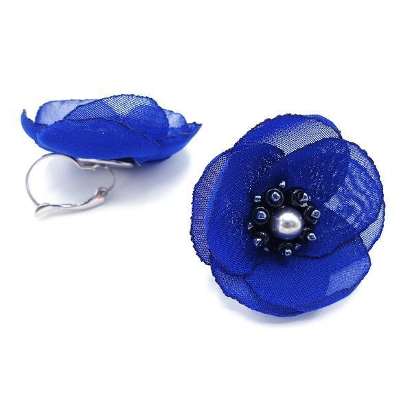 Cercei eleganti albastri design floral, Cindy, Zia Fashion
