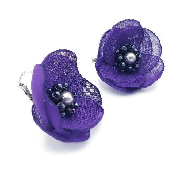 Cercei eleganti mov design floral, Alissa, Zia Fashion