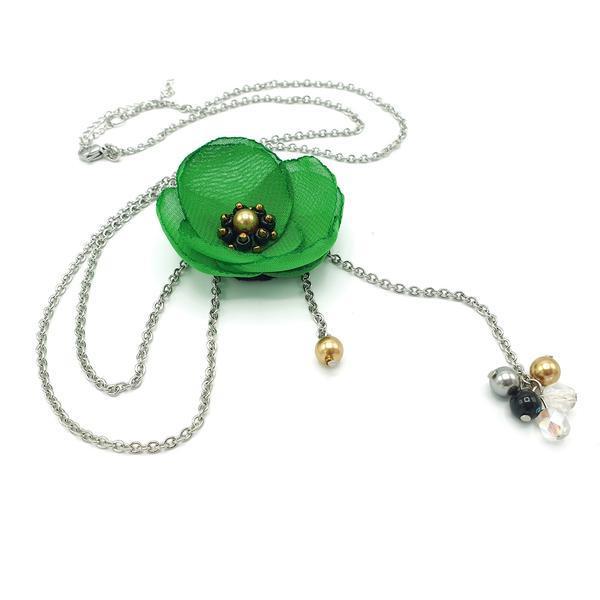 Colier lung pandantiv floare verde, Mayra, Zia Fashion