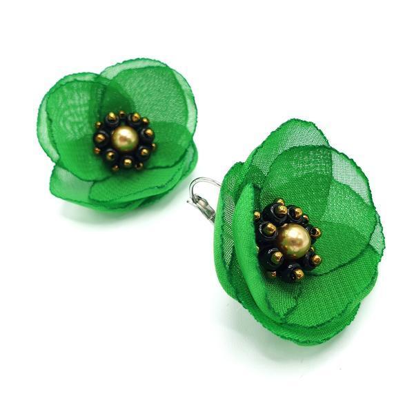 Cercei eleganti verzi cu design floral, Mayra, Zia Fashion
