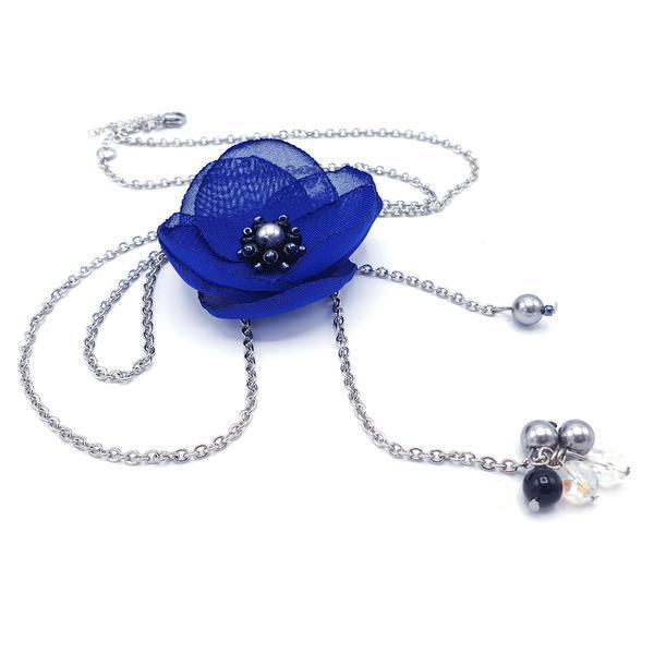 Colier lung pandantiv floare albastra, Cindy, Zia Fashion