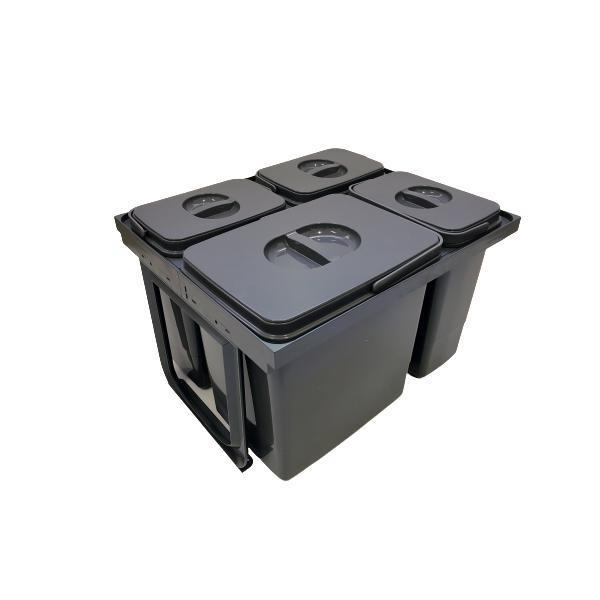 Cos de gunoi Jazz 45 incorporabil, colectare selectiva, 1 compartiment x15 litri si 3×7 litri, H300 mm
