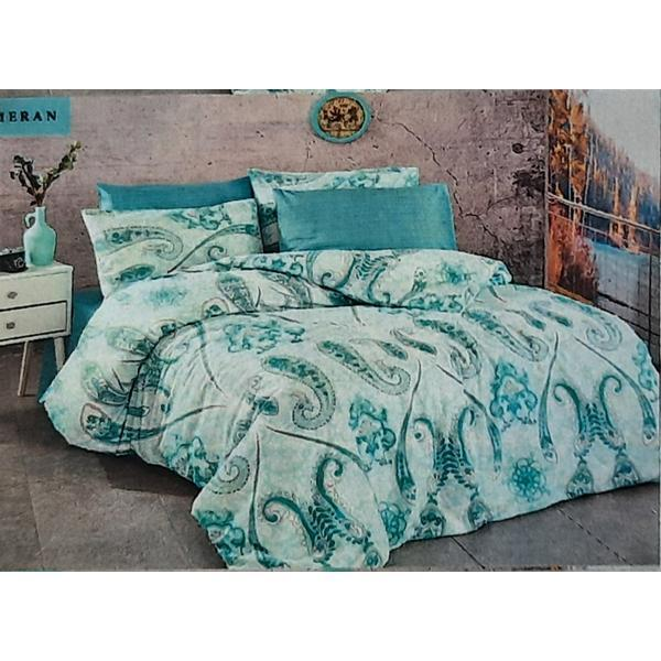 Set cearceaf de pat cu elastic 160 x 200 x 25 cm ,si 2 fete de perna 50 x 70 cm, bumbac 100% model 3 – Patru Anotimpuri