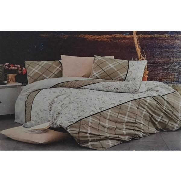 Set cearceaf de pat cu elastic 160 x 200 x 25 cm, si 2 fete de perna 50 x 70 cm, bumbac 100% model 6 – Patru Anotimpuri