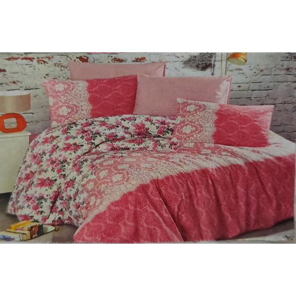 Set cearceaf de pat cu elastic 160 x 200 x 25 cm, si 2 fete de perna 50 x 70 cm, bumbac 100% model 5 – Patru Anotimpuri