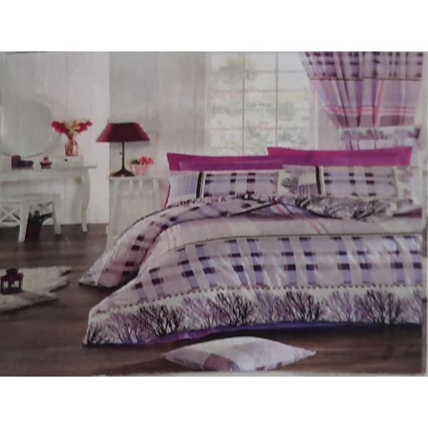 Set cear ceaf de pat cu elastic 160 x 200 x 25 cm, si 2 fete de perna 50 x 70 cm, bumbac 100% model 6 – Patru Anotimpuri