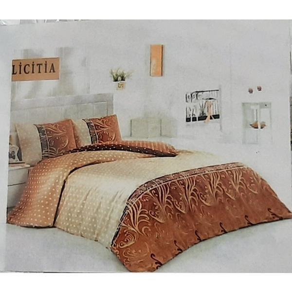 Set cearceaf de pat cu elastic 160 x 200 x 25 cm, si 2 fete de perna 50 x 70 cm ,bumbac 100% model 7 – Patru Anotimpuri