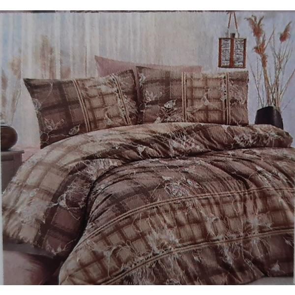 Set cearceaf de pat cu elastic 160x200x25 cm, si 2 fete de perna 50×70 cm, bumbac 100% model 13 – Patru Anotimpuri