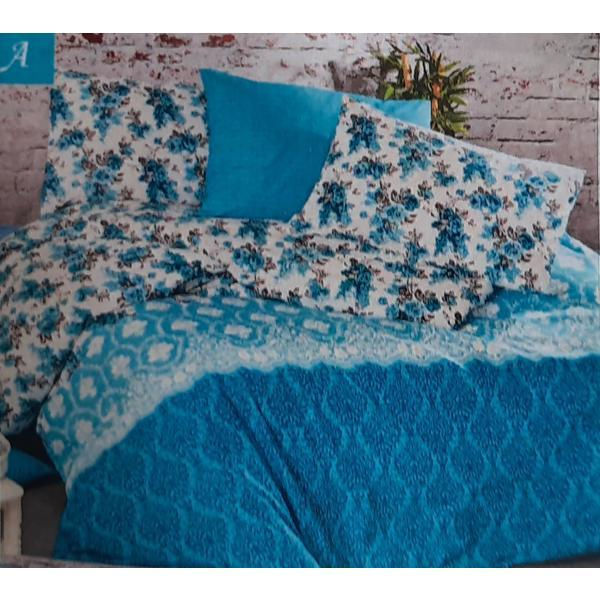 Set cearceaf de pat cu elastic 160 x 200 x 25 cm, si 2 fete de perna 50 x 70 cm, bumbac 100% model 8 – Patru Anotimpuri