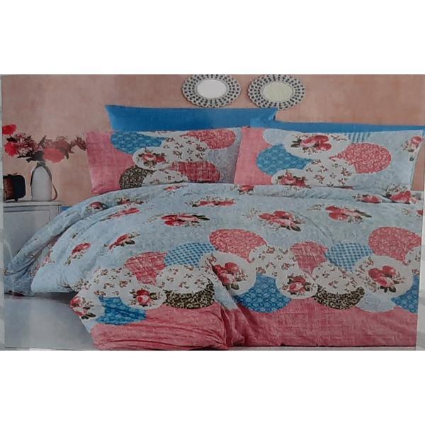 Set cearceaf de pat cu elastic 160 x 200 x 25 cm, si 2 fete de perna 50 x 70 cm, bumbac 100% model 10 – Patru Anotimpuri