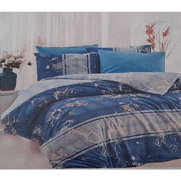 Set cearceaf de pat cu elastic 160 x 200 x 25 cm, si 2 fete de perna 50 x 70 cm, bumbac 100% model 9 – Patru Anotimpuri