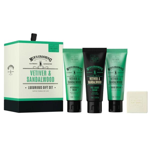 Set cadou ingrijire barba si ten, Vetiver & Sandalwood, Scottish Fine Soaps - Aftershave 75ml + scrub 75ml + crema ras 75ml + sapun 40g