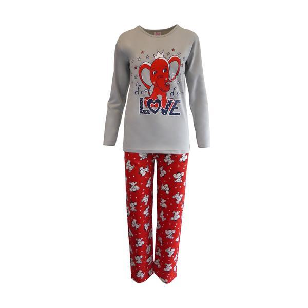 Pijama dama, Univers Fashion, bluza gri cu imprimeu elefant, pantaloni rosu cu imprimeu elefanti, XL