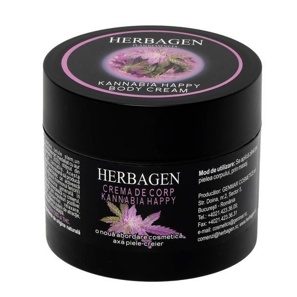 Crema de Corp Kannabia Happy cu Celule Stem din Seminte de Canabis Herbagen, 200 g
