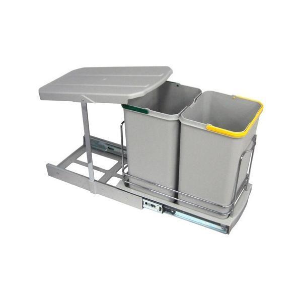 Cos de gunoi incorporabil S2392, colectare selectiva, cu extragere automata, cu doua recipiente 12+12 litri