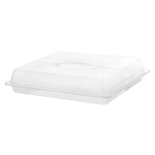 Platou pentru prajituri sau tort cu capac, dreptunghiular, alb transparent – Maxdeco