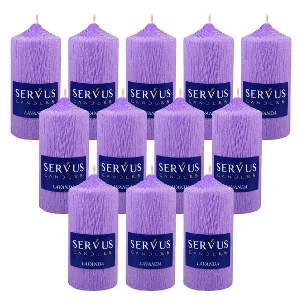 Bax 12 Lumanari Parfumate Lavanda cilindru 13 cm