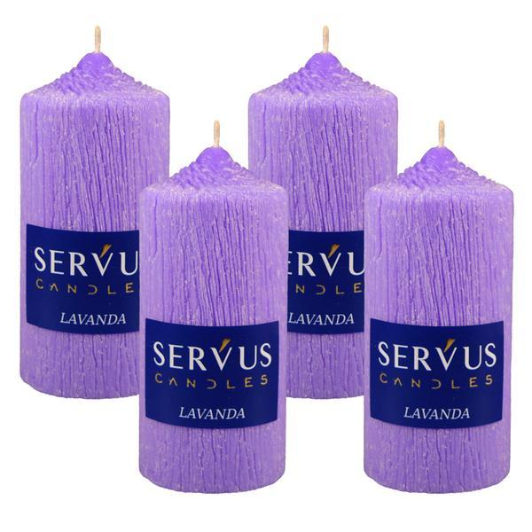 Set 4 Lumanari Parfumate Lavanda , cilindru 13 cm