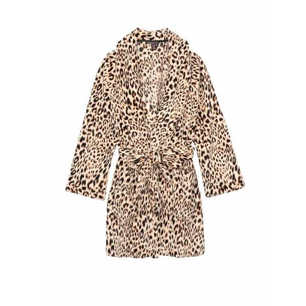 Halat, Victoria's Secret, Logo Short Cozy, Champagne Leopard, Marime S