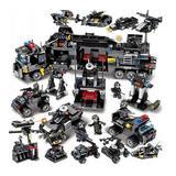 Set de constructie pentru copii, model statie de politie, 832 piese, negru