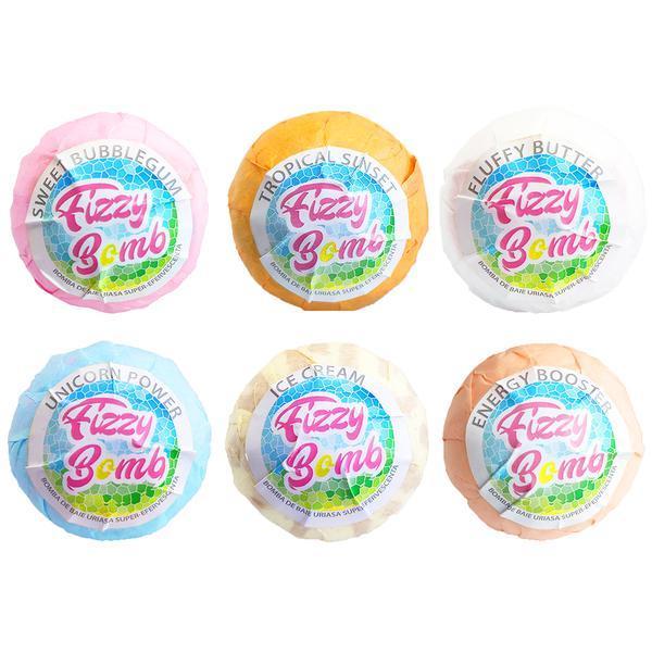 Set 6 Bombe de baie efervescente Fizzy Bomb, diverse culori si arome, cu unt de shea si aromaterapie 1080g