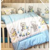 Lenjerie bumbac patut copii Bebe Royal 120*60 - 3 piese - bomboane albastru