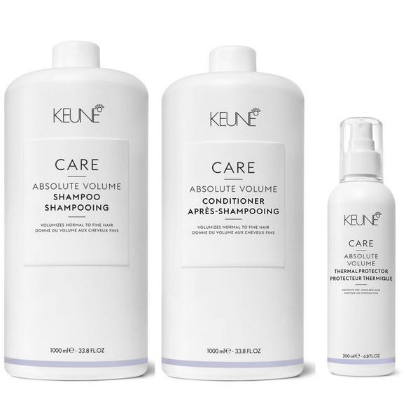 Pachet pentru Volum - Keune Care Absolute Volume: Sampon 1000 ml, Balsam 1000 ml, Spray 200 ml esteto.ro