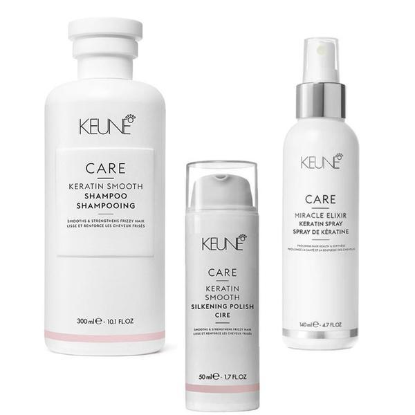 Pachet cu Cheratina - Keune Care Keratin Smooth: Sampon 300 ml, Crema de Par 50 ml, Tratament 140 ml