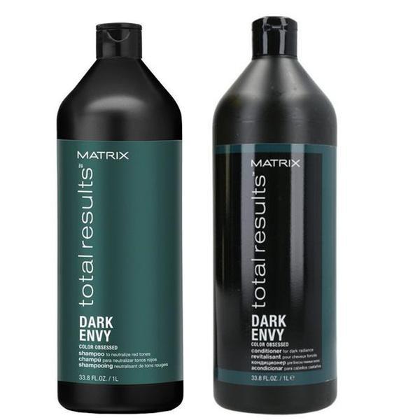 Pachet pentru Neutralizarea Tonurilor Aramii - Matrix Total Results Dark Envy: Sampon 1000 ml, Balsam 1000 ml