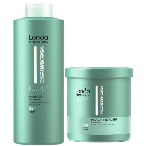 Pachet pentru Par Uscat cu Unt de Shea - Londa Professional Pure Shea Butter: Sampon 1000 ml, Tratament 750 ml