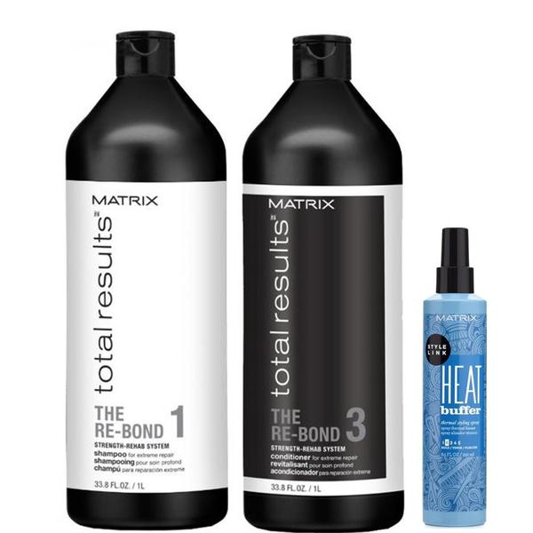 Pachet cu Efect Reparator - Matrix Total Results The Re-Bond: Sampon 1000 ml, Balsam 1000 ml, Spray pentru Protectie Termica 250 ml esteto.ro
